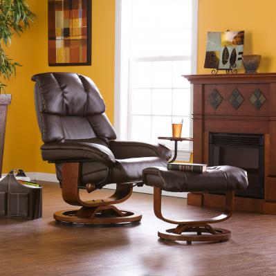 Bonded Leather Recliner And Ottoman - Cafe Brown