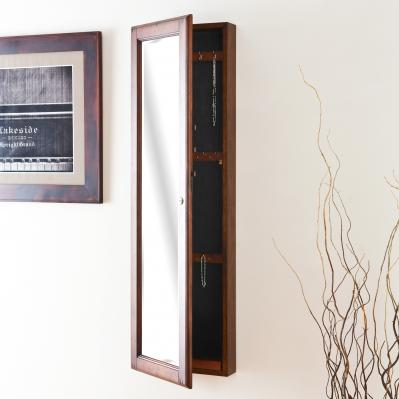 Wall Mount Jewelry Mirror - Brown Walnut