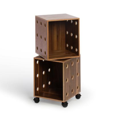 Walnut Perf Boxes - 2 stack with casters
