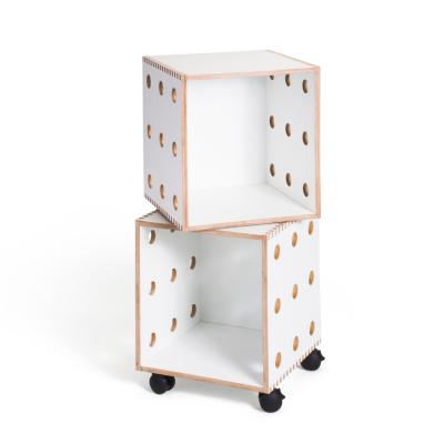 White laminate Perf Boxes - 2 stack with casters