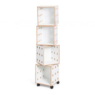 White laminate Perf Boxes - 4 stack with casters