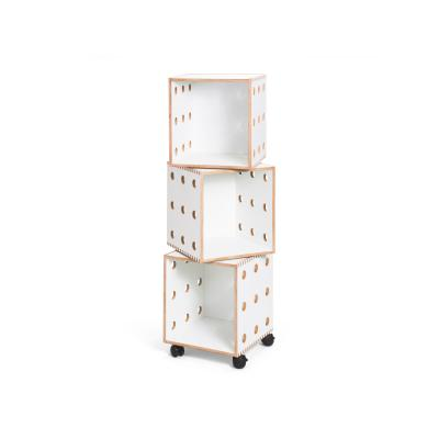 White laminate Perf Boxes - 3 stack with casters