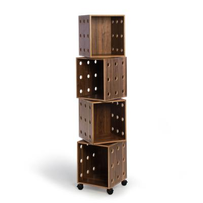 Walnut Perf Boxes - 4 stack with casters