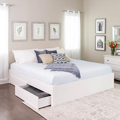 King Select 4-Post Platform Bed with 4 Drawers, White