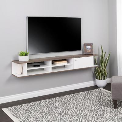 Wall Mounted Media Console with Door, White and Drifted Gray