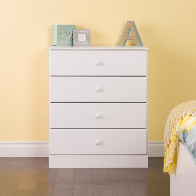 Astrid 4-Drawer Dresser, White
