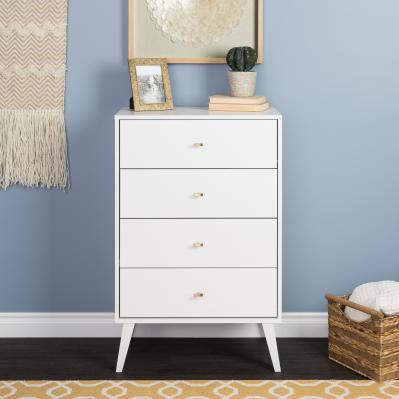Milo Mid Century Modern  4-drawer Chest, White