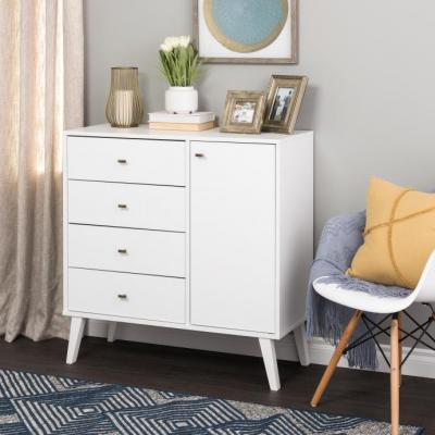 Milo MCM 4-drawer Chest with Door - White
