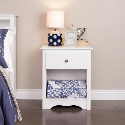 Monterey 1-drawer Tall Nightstand, White