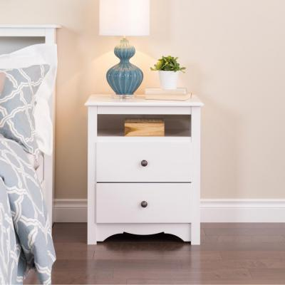 White Monterey Tall 2 Drawer Nightstand with Open Shelf