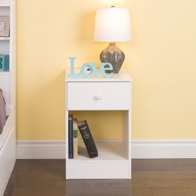 Astrid Tall 1-Drawer Night Stand, White