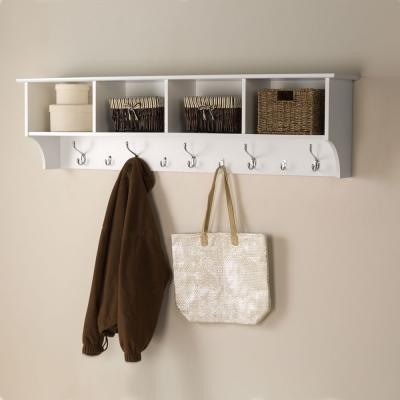 White 60-inch Wide Hanging Entryway Shelf