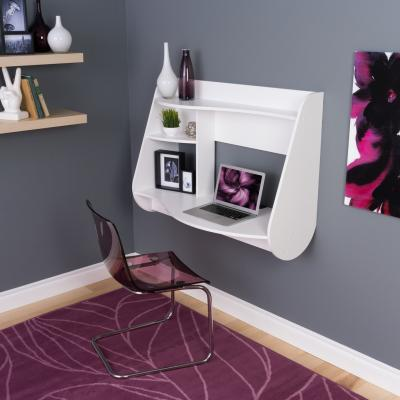Kurv Floating Desk in White
