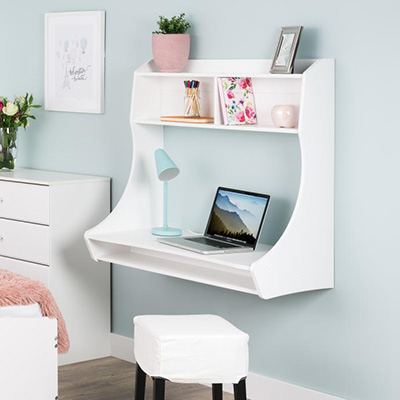 Compact Hanging Desk, White