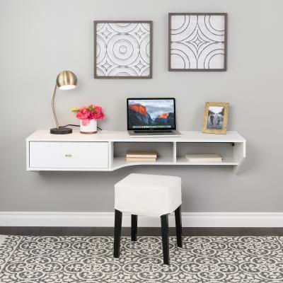 Modern Floating Desk with Drawer, White