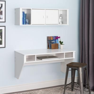 Designer Floating Desk & Hutch Set in White