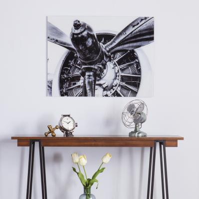 Old Aircraft Propeller Engine - Glass Wall Art