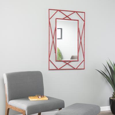 Belews Geometric Wall Mirror - Red