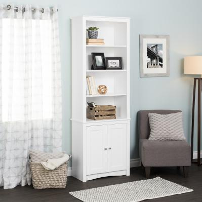 White Tall Bookcase with 2 Shaker Doors