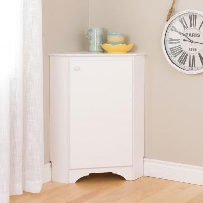 Elite White Corner Storage Cabinet