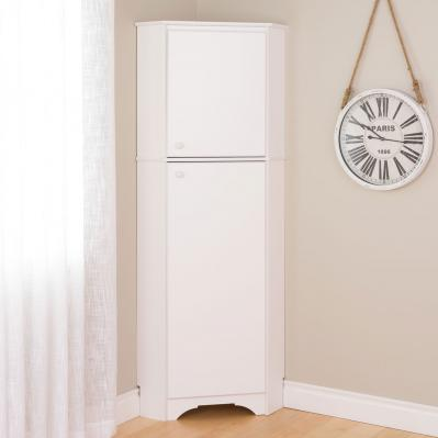 Elite White Tall 2-Door Corner Storage Cabinet
