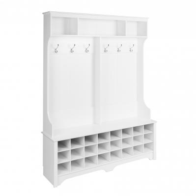 60 inch Wide Hall Tree with 24 Shoe Cubbies, White