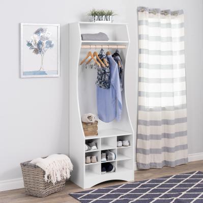 White Compact Wardrobe with Shoe Storage