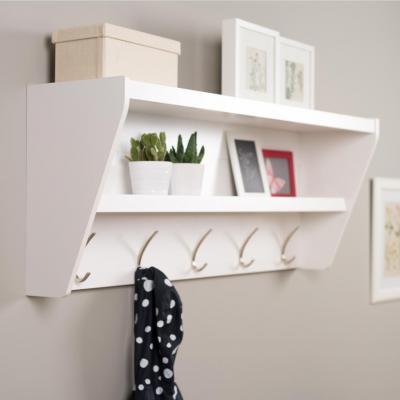 Floating Entryway Shelf & Coat Rack in White