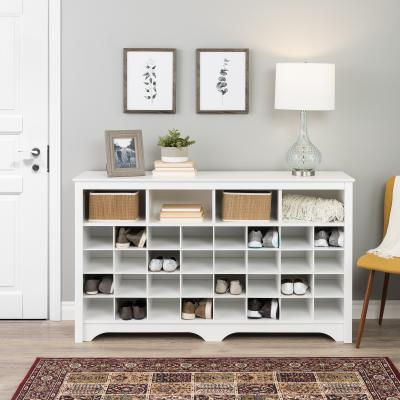 60 inch Shoe Cubby Console, White