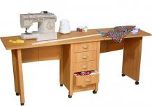 Double Mobile Desk & Craft Table oak