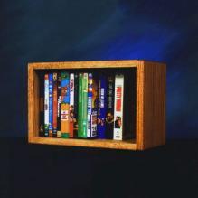 Solid Oak Desktop Or Shelf DVD/ Vhs Cabinet