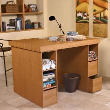 Project Center With 3 Bin Cabinets oak