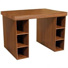 Project Center With 3 Bin Cabinets walnut