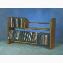 Solid Oak 2 Row Dowel Cd Rack