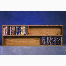 Solid Oak Wall Or Shelf Mount DVD Vhs Tape Book Cabinet