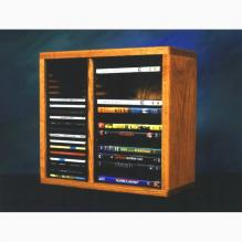 Solid Oak desktop or shelf for CD's and DVD's (Individual Locking Slots)