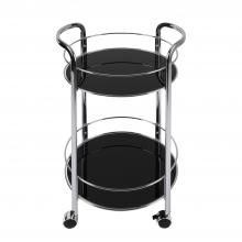 Rolling Bar Cart With Round Shelves In Black
