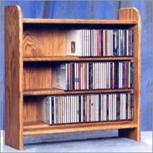Solid Oak 3 Shelf Cd Cabinet