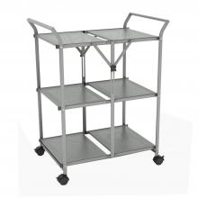3 Shelf Folding Cart With Handle In Moon Mist