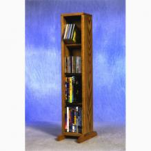 Solid Oak 4 Row Dowel CD/DVD Cabinet Tower