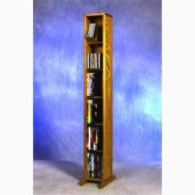 Solid Oak 6 Row Dowel DVD Cabinet Tower