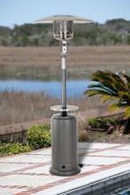 Hammer Tone Silver Patio Heater With Adjustable Table