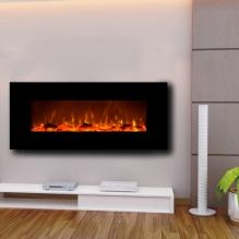 Onyx Black Wall-Mounted Fireplace