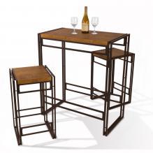 Atlantic Urban Dining Set, Bar Height Table and 2 Stools, 3 Piece Set. Woodgrain/ Black