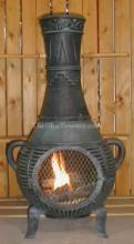 Pine Chiminea Outdoor Fireplace W/Gas