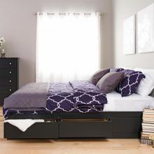 Black King Mateís Platform Storage Bed with 6 Drawers