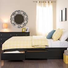 Black Queen Mateís Platform Storage Bed with 6 Drawers