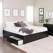 Select Black King 4-Post Platform Bed with 2 Drawers