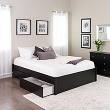 Queen Select 4-Post Platform Bed with 4 Drawers, Black