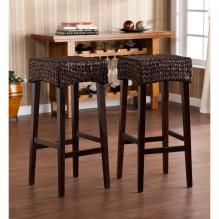 Pair Water Hyacinth 30-inch Stools